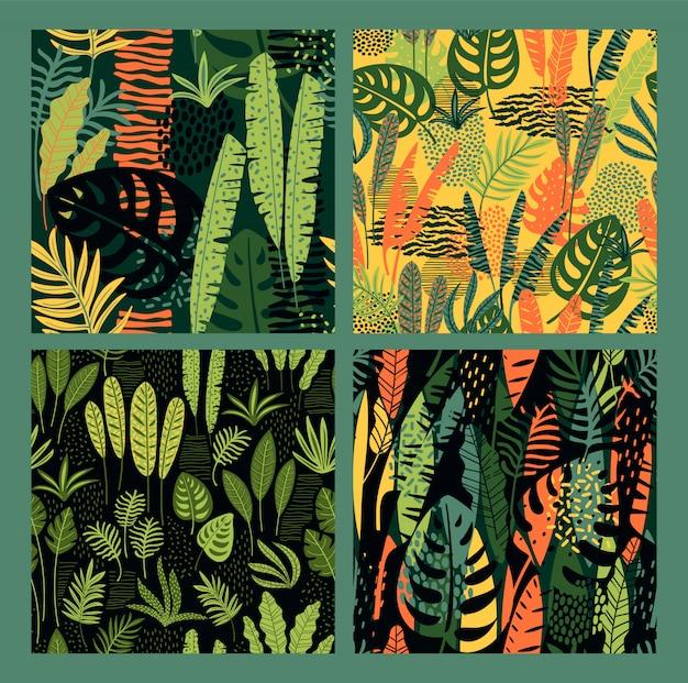 Testes padrões abstratos sem costura com folhas tropicais.