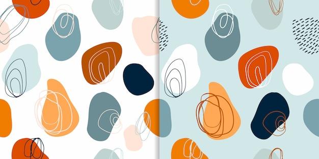 Testes padrões abstratos sem costura conjunto com formas decorativas mão desenhada, design moderno