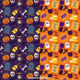 Testes padrões coloridos com itens do dia das bruxas