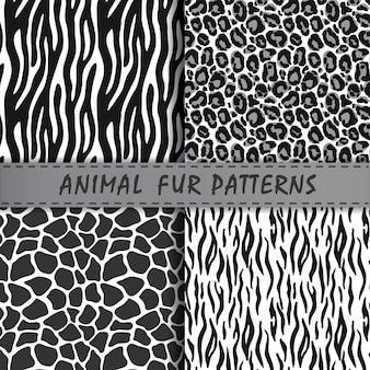 Testes padrões sem emenda do vetor ajustados com textura da pele animal.