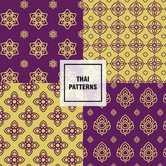 Testes padrões tailandeses amarelas e roxas