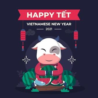 Têt ano novo vietnamita em design plano