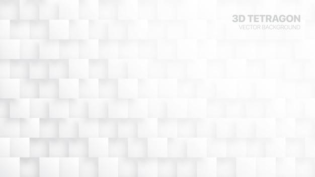 Tetrágonos 3d abstrato branco
