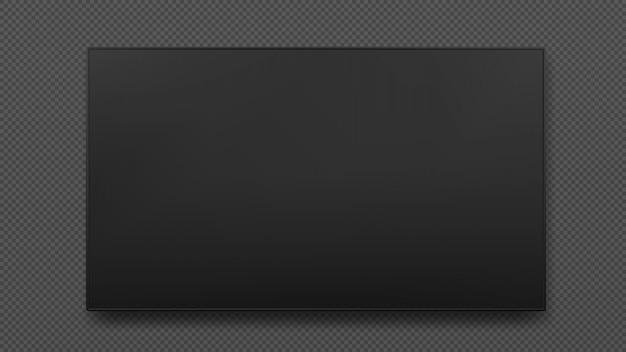 Tevê larga do diodo emissor de luz do preto do plasma da parede isolada. tv digital, moderna tela de lcd em branco.