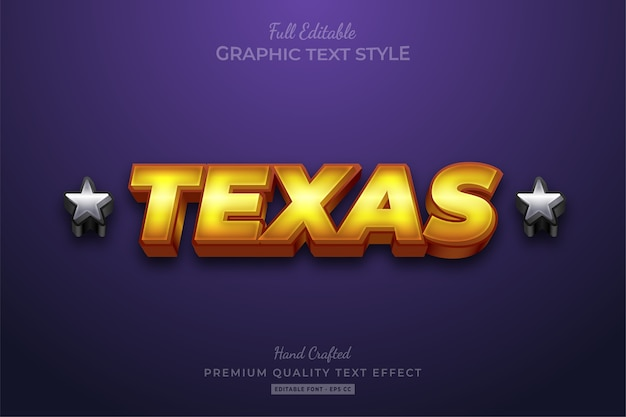 Texas gold silver editable text style effect premium