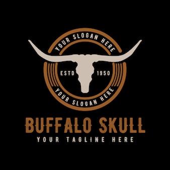 Texas longhorn, design de logotipo retrô vintage país touros bovinos
