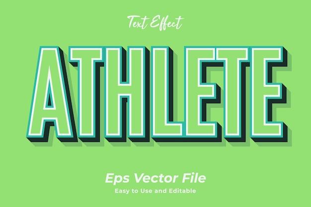 Text effect athlete editável e fácil de usar premium vector