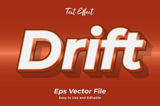 Text effect drift editável e fácil de usar premium vector