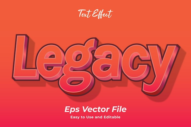 Text effect legacy editável e fácil de usar vetor premium