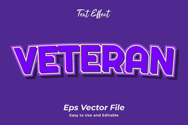 Text effect veteran editável e fácil de usar premium vector