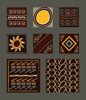 Têxteis étnicos feitos à mão da cultura tribal africana definir ilustração