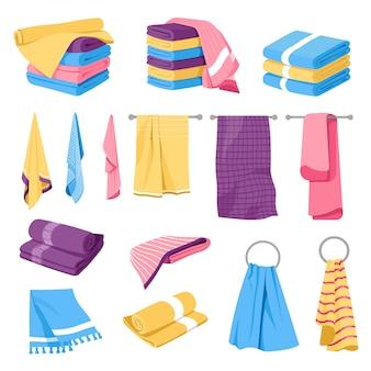 Têxteis para o lar, pilhas de toalhas e suportes,
