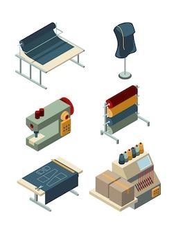 Têxtil isométrico. fábrica de costura industrial máquinas de produção de vestuário, fabricação de coleção