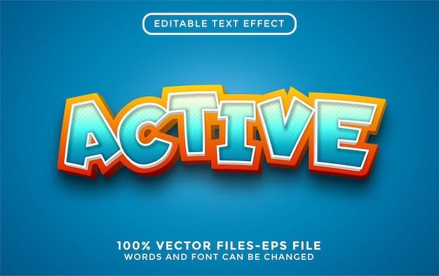Texto 3d ativo. efeito de texto editável com vetores premium estilo cartoon