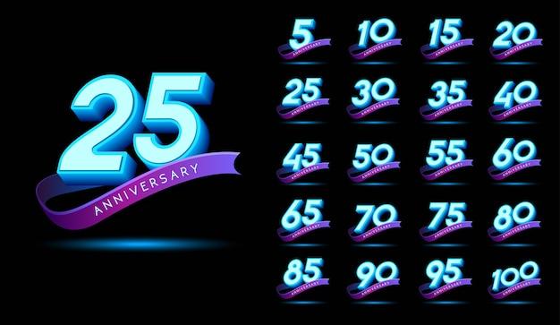 Texto 3d de aniversário com efeito de brilho. design de modelo de vetor de celebração