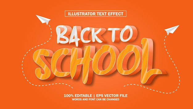 Texto 3d de volta às aulas editável premium
