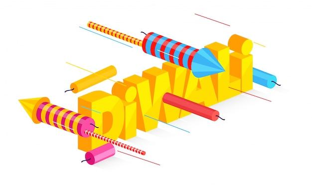 Texto 3d diwali com fogos de artifício coloridos.