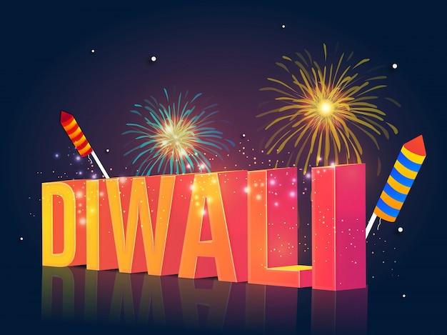 Texto 3d diwali com fogos de artifício.