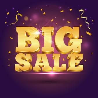 Texto 3d dourado grande venda com confetes em roxo. ilustração para publicidade de venda de desconto de promoção