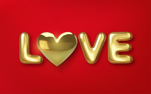 Texto 3d dourado metálico realista com forma de coração