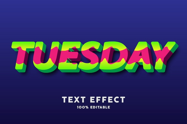 Texto 3d em negrito fresco verde e vermelho estilo ondulado, efeito de texto