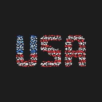 Texto abstrato dos eua a partir de pontos coloridos. conceito de abreviatura, unidade, democracia, glória, governo, fonte de crachá retrô, partido. ilustração em vetor editável estilo simples design de logotipo em fundo preto