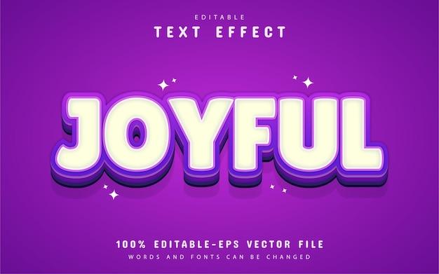 Texto alegre, efeito de texto roxo de desenho animado