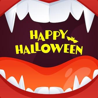 Texto amarelo de feliz dia das bruxas em fundo aberto de boca de monstro