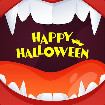 Texto amarelo feliz dia das bruxas em fundo aberto de boca de monstro
