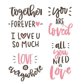 Texto-amor mão lettering coleção