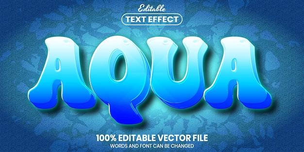 Texto aqua, efeito de texto editável de estilo de fonte