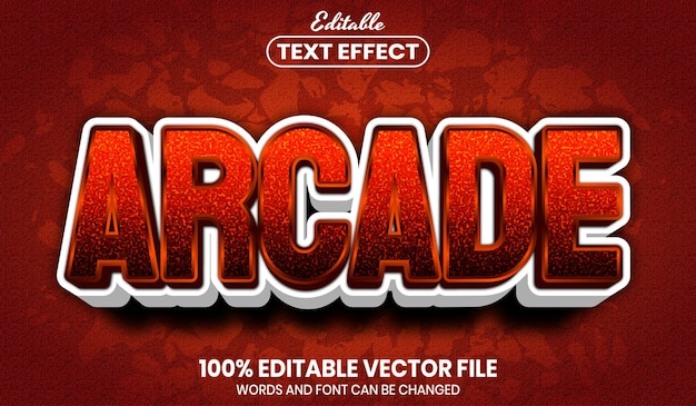 Texto arcade, efeito de texto editável