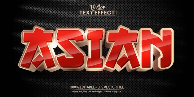 Texto asiático de cor dourada efeito de texto editável