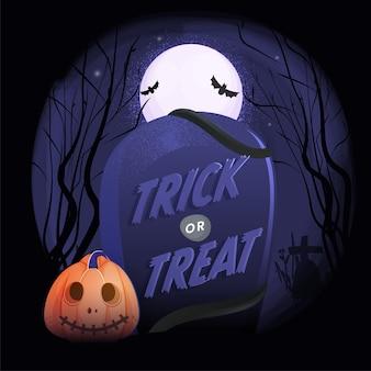 Texto assustador de truque ou deleite no cemitério com jack-o-lantern e fundo de floresta de lua cheia.