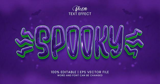 Texto assustador, modelo de estilo de efeito de texto editável de terror
