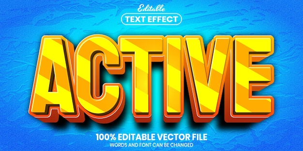 Texto ativo, efeito de texto editável de estilo de fonte