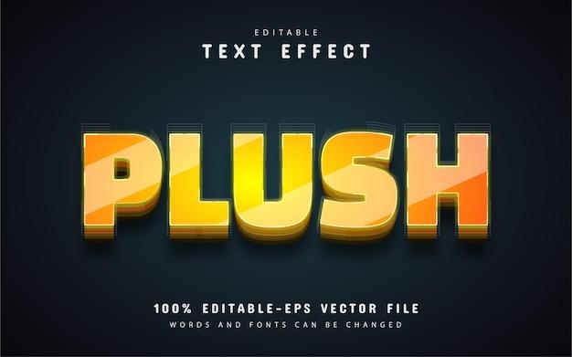 Texto aveludado, efeito de texto 3d amarelo