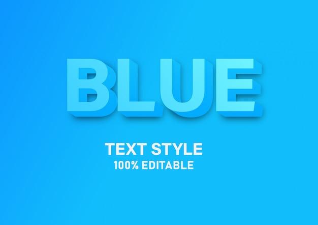Texto azul 3d estilo moderno e simples alfabeto flutuante efeito de fonte isométrico.