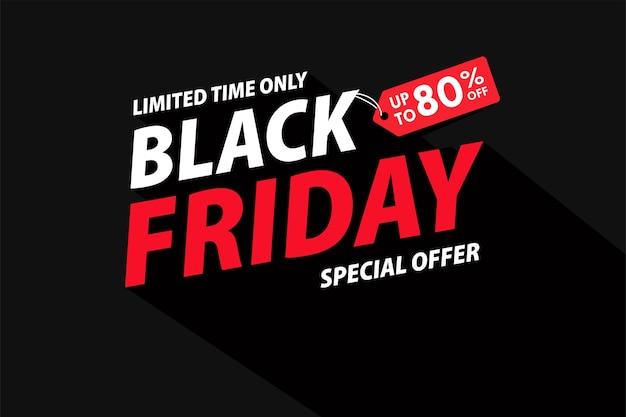 Texto blackfriday simples com uma longa sombra. para uma promoção de fim de semana.