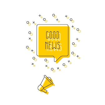 Texto 'boas notícias' no balão e alto-falante em amarelo