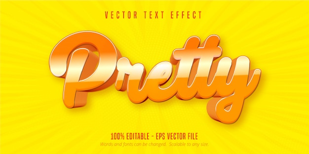 Texto bonito, efeito de texto editável no estilo desenho animado
