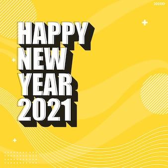 Texto branco de feliz ano novo 2021 no fundo amarelo abstrato ondas