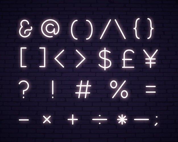 Texto branco, símbolos, sinal néon