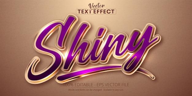 Texto brilhante, efeito de texto editável de estilo cor ouro rosa brilhante