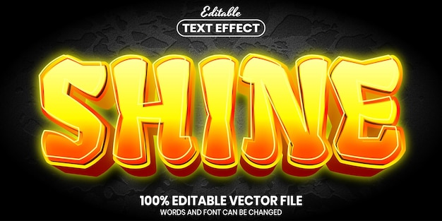 Texto brilhante, efeito de texto editável de estilo de fonte