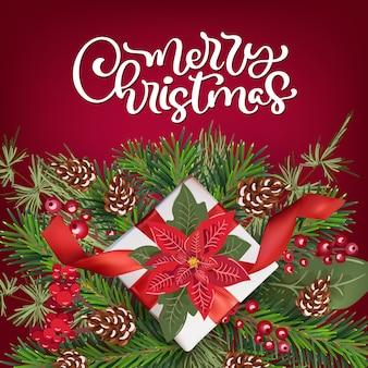 Texto caligráfico de feliz natal. cartão com decoração floral poinsetia