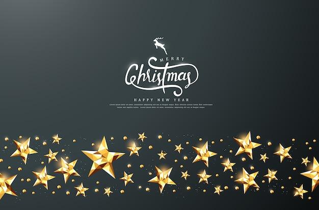 Texto caligráfico de feliz natal com fundo estrela dourada.