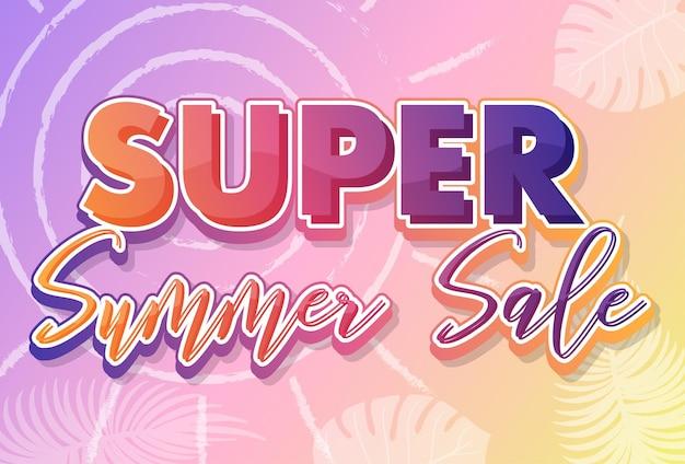 Texto caligráfico de super liquidação de verão