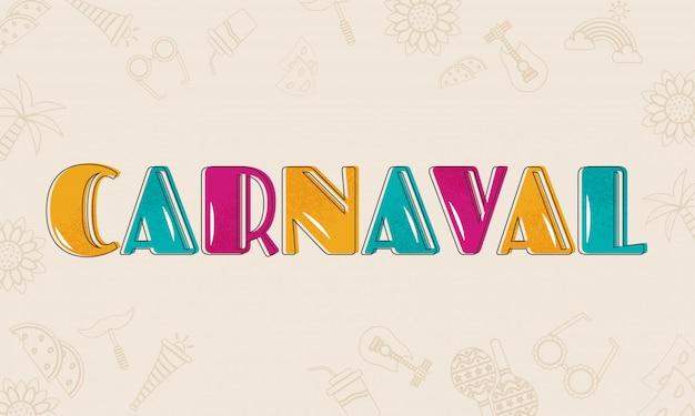 Texto carnaval colorido.
