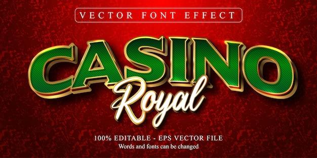 Texto casino royal, efeito de texto editável estilo dourado
